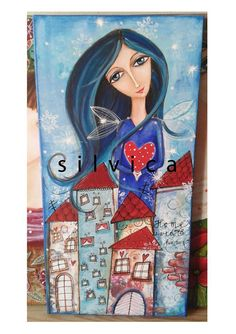acryl  30x60 cm Folk Art, Workshop, Illustrations, Patterns, Gallery, Anime, Block Prints, Atelier, Popular Art