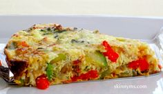 Crustless Vegetable Quiche - Brunch, breakfast, or dinner...you'll love this quiche recipe at only 121 calories and 3 #weightwatchers points. #superfood #cleaneating