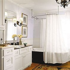 I love pedestal sinks and bathtubs. I want to find the perfect tub: claw foot, navy blue, with jets, big enough for 2.