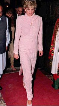 Princess Diana wears a traditional Shalwar Kameez during a visit to Lahore in Pakistan in April 1996.