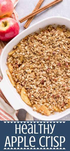 This Healthy Apple Crisp recipe is gluten dairy free and sweetened with just maple syrup Naturally sweet delicious it s the perfect healthy dessert desserts glutenfree fall apples applecrisp Healthy Dessert Recipes, Healthy Baking, Healthy Snacks, Eating Healthy, Delicious Desserts, Apple Recipe Healthy, Healthy Recipes With Apples, Apple Recipes Healthy Clean Eating, Healthy Delicious Recipes