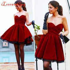 iLoveWedding Cocktail Dresses Sweetheart Mini Party Dresses Ball Gowns Burgundy Lovely Formal Party Vestidos Custom Made ML01