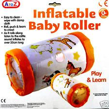INFLATABLE BABY ROLLER - ACTIVITY PUSH CRAWL TOY WITH RATTLE SOUND 0 TO ANY AGE