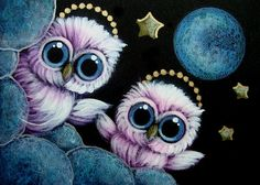 TINY ANGELS OWLS - HEAVEN BLUE MOON detail image TINY ANGELS OWLS - HEAVEN BLUE MOON.jpg