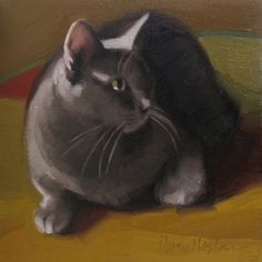 Monday Cat oil painting of gray cat, painting by artist Diane Hoeptner