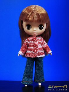 Petite Blythe in hand knitted cardigan and jeans pants