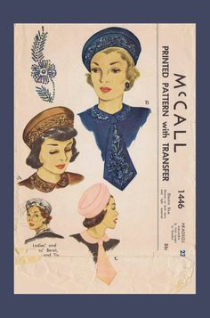 Vint Millinery 1446 Embroidered FASCINATOR Hats BERET COLLAR TIE Fabric Pattern