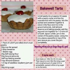 Bakewell tarts Slimming World Sweets, Slimming World Syns, Slimming Eats, Slimming Recipes, Low Syn Cakes, Slimmers World Recipes, Syn Free Food, Bakewell Tart, Get Thin