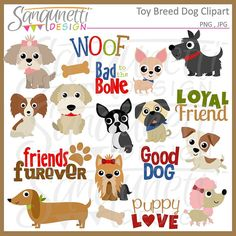 Toy Dog Breed Clipart, Puppy, Pets Commercial License Included