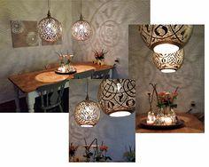 Grote Oosterse lampen Isra van Nour Lifestyle boven eettafel