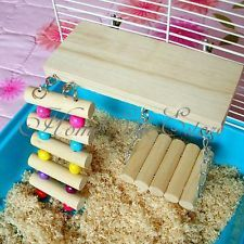 Mouse Parrot Bird Hamster Playground Wooden Ladder Swing Bridge Shelf Cage Toys