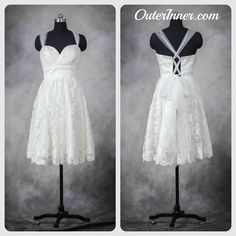 Tulle Corset Back Lace Short Wedding Dress  Style Code: 10954  $134  Ready for this short wedding dress? Buy it here: http://www.outerinner.com/tulle-corset-back-lace-short-wedding-dress-pd-10954-0.html?k=10954  #weddingdresses #bride #outerinner