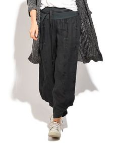 Gray Embroidered Tie-Waist Linen Harem Pants - Plus Too #zulily #zulilyfinds