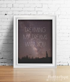 Night Sky Love Quote Wall Art  by Flutterbye Prints