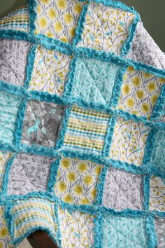 Baby Rag Quilt Grey Yellow Aqua Nursery. Make this look only crochet the blocks together with a funky texture fiber