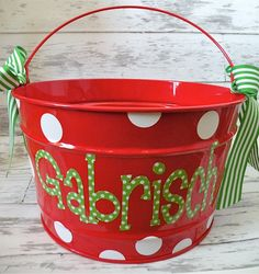 16 Quart Christmas Bucket by monkeyseeboutique on Etsy, $32.50