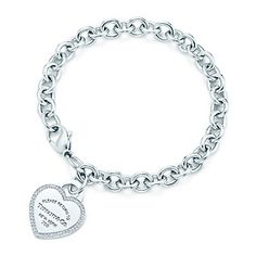 Return to Tiffany™ medium heart tag in 18k white gold on a bracelet, medium. <3