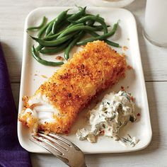 Crispy Fish with Lemon-Dill Sauce | Panko is the secret ingredient that makes these crispy, oven-fried fish fillets a family favorite. The lemon-dill sauce is the perfect compliment and great for dipping. For sustainability reasons, be sure to choose Alaskan cod, or substitute halibut or even tilapia.