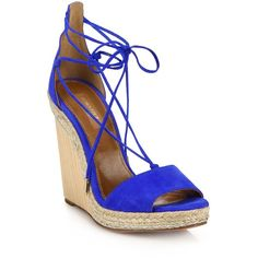 Aquazzura Alexa Suede Wedge Espadrille Sandals ($595) ❤ liked on Polyvore featuring shoes, sandals, apparel & accessories, mondrain blue, ankle wrap sandals, ankle strap wedge sandals, ankle wrap espadrille, wedges shoes and lace up sandals