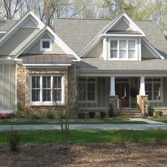 Architecture Inspiration. Popular Craftsman Style Homes With White Wooden Fence And Green Grass Outside Front Yard Also Sweet White Pillars ...