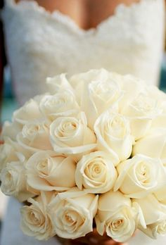 No white roses in my bouquet! I like the lines of this all-rose bouquet though. White Rose Bouquet, White Roses, Ivory Roses, Cream Roses, White Flowers, Rose Boquet, Colorful Roses, Pink Roses, Beautiful Flowers