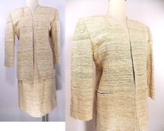 VINTAGE 70s Skirt Suit Sz M Business Career Stripe Madmen Pencil Jacket Satin