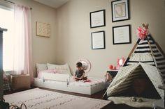 lit bébé au sol tente noir blanc