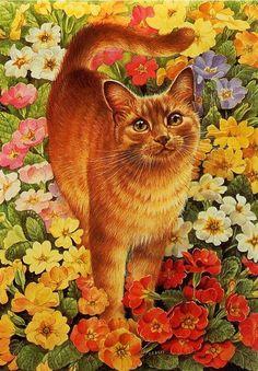 Схема вышивки «рыжий кот в цветах» - Вышивка крестом