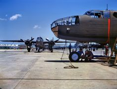 """October 1942. """"New B-25 bombers lined up for final inspection and tests at the North American Aviation plant in Kansas City, Kansas."""" 4x5 Kodachrome transparency by Alfred Palmer for the Office of War Information."""