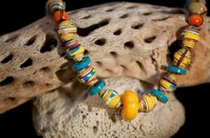 Chunky Yellow Cereal Box paper Bead Necklace by annemadethis