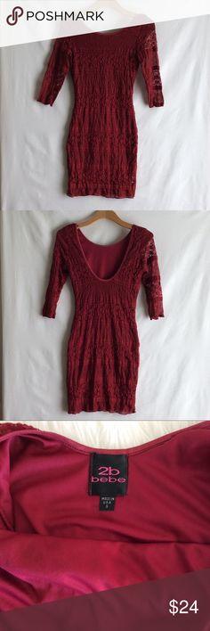 2B Bebe Red Bodycon Dress Form fitting 2B Bebe Dresses Mini