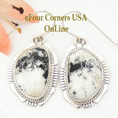 Four Corners USA Online - White Buffalo Turquoise Sterling Earrings Navajo Artisan Kathy Yazzie NAER-1517, $185.00 (http://stores.fourcornersusaonline.com/white-buffalo-turquoise-sterling-earrings-navajo-artisan-kathy-yazzie-naer-1517/)