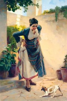 Apostolos Geralis,  (Greek 1886-1983). A PLAYFUL MOMENT, Made of oil on canvas