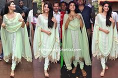 For her appearance at 'Dahi Handi' celebrations, Jacqueline kept it simple in a mint suit by Shehla Khan. You like?