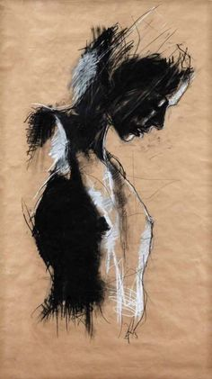 High contrast figure in black and white on paper like the contrast on coloured paper