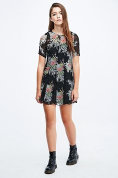 Pins & Needles Lace Godet Insert Dress in Black