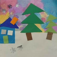 """Grade K. Use bright colors of liquid watercolor on 12"""" X 12"""" watercolor paper. Then sprinkle salt on top and allow to dry. Next class, wipe the salt from the papers to reveal a """"snowy"""" sky. Tear 1/2 of white 9"""" X 12"""" construction paper horizontally as snow on the bottom. Houses from rectangular scraps. Show  how to cut a square piece of paper corner to corner to create a triangle for the roof. Doors, windows, and chimneys and trees made by stacking triangles. Trunks and pre-cut snowflakes last."""