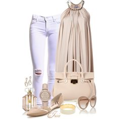 """nude & white"" by josiriou on Polyvore"