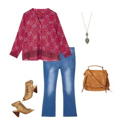 Turquoise Jewelry Outfit Bootcut jeans are a great way to add some boho flair to your casual wardrobe! Try them with a romantic printed blouse, heeled sandals and a whip stitched bag. Don't forget turquoise jewelry for the finishing touch! Church Outfits, Fall Outfits, Summer Outfits, Denim Outfits, Fashion Outfits, Angel Wing Earrings, Heeled Sandals, Hippie Chic, Printed Blouse