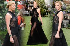 charlize theron hair, makeup, dress