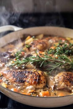 One Pot Lemon Rosemary Dijon Chicken and Butter Toasted Rice Pilaf...everyone's favorite dinner made easy and delicious and all in one-pot!