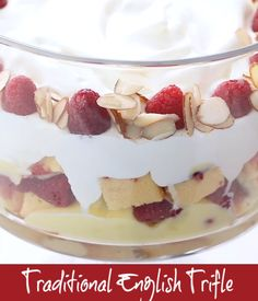 Traditional English Trifle - a classic British dessert with layers of cake, creme anglaise, raspberries, jam and whipped cream. Perfect holiday or special occasion indulgence! British Trifle Recipe, Best Trifle Recipe, Trifle Bowl Recipes, Quick Dessert Recipes, Homemade Desserts, Easy Cake Recipes, Easy Desserts, Cookie Recipes, Easy English Trifle Recipe