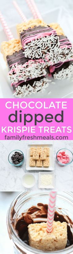 Chocolate Dipped Rice Krispie Treats - Valentine's Day Recipe!