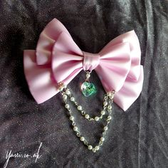 Pastel Sweet Lolita Hair Bow With Iridescent Rainbow Crystal in Lilac