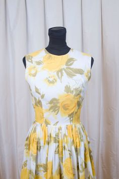 1960's Dress // Yellow Rose Watercolor Dress from Lord and Taylor. $98.00, via Etsy.