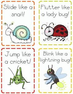 insect action cards - fun for kids of all ages during those cold wet winter days.pinned a Christmas themed one last year and my kids had a blast with it. Insect Activities, Gross Motor Activities, Preschool Activities, Music Activities, Insect Games, Bug Games, Physical Activities, Preschool Printables, Cognitive Activities