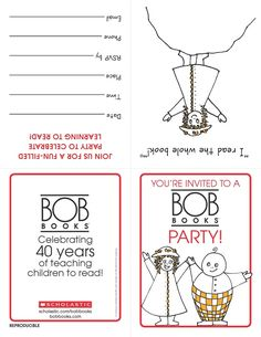 A printable invite for your BOB Books reading celebration!    Download the full event kit on the BOB Books Board. Teaching Reading, Teaching Kids, Bob Books, John R, 40th Anniversary, Youre Invited, Printable Invitations, Book Design, Books To Read
