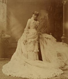 Wedding portrait of Mary King (nee Hopkins) (Mrs. Goodman King). Wedding took place on 30 April 1884.