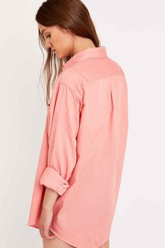 Urban Renewal Vintage Customised Washed Out Shirt in Coral