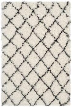 Safavieh Moroccan Shag Ivory & Grey Geometric Contemporary Area Rug & Reviews   Wayfair